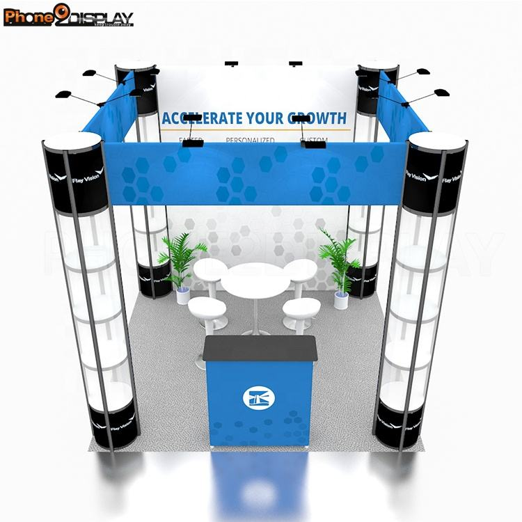 Modern Design 3x3 Size LED Portable Twist Tower Collapsible Exhibition Booth Stand Easy Setup Reusable Trade Show Display