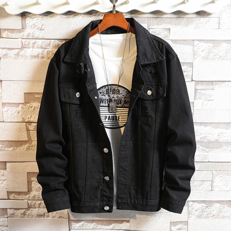 Kingben wholesale new fashion slim style denim jacket black men in stock ripped Jeans Jacket for man