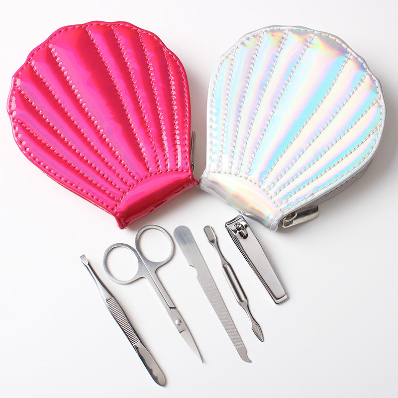 New Products Popular OEM Shell Bag 5 pcs Carbon Steel Manicure Set Promotional Kit