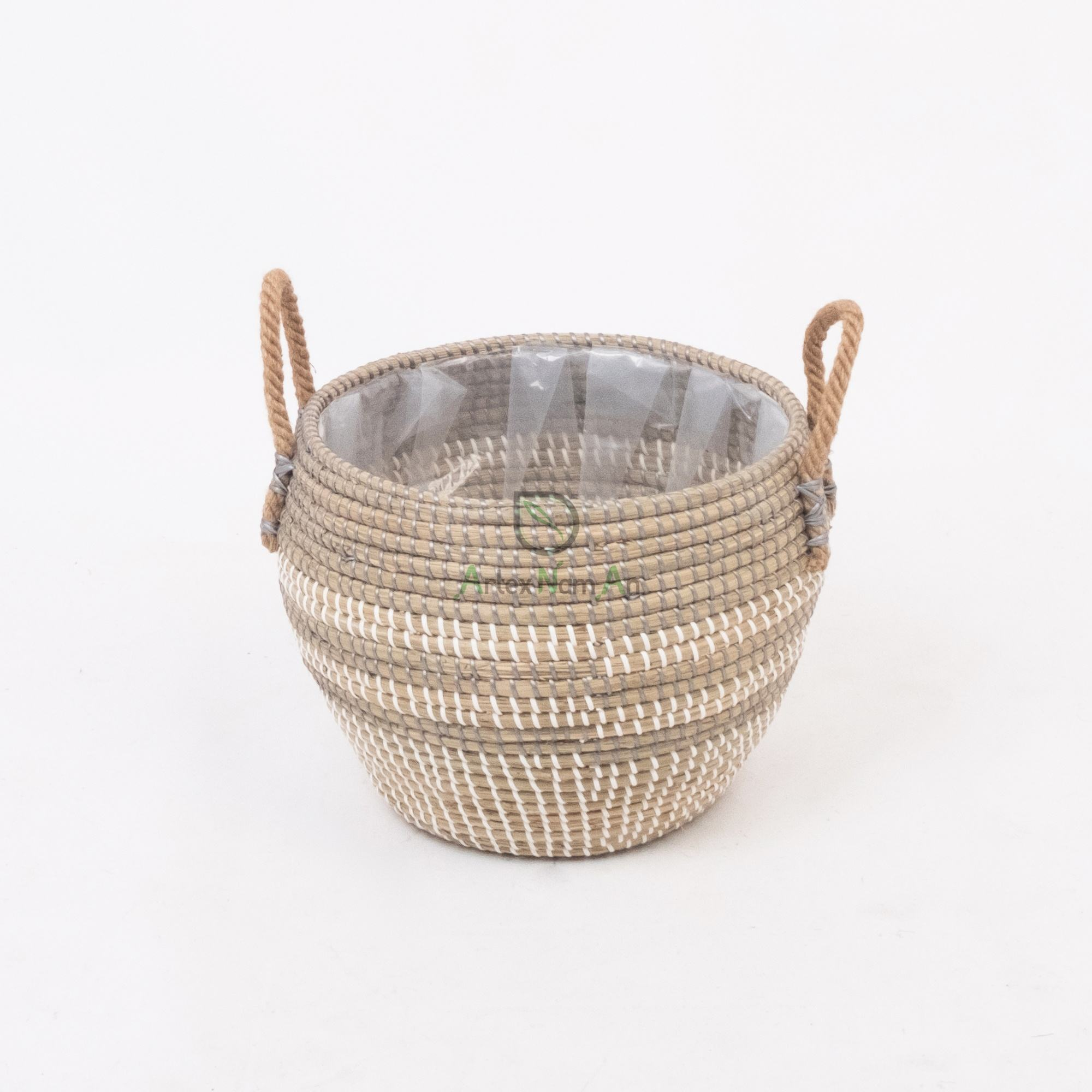 Vietnam supplier seagrass planter garden flower pot indoor plant pot also woven basket for plants with handles