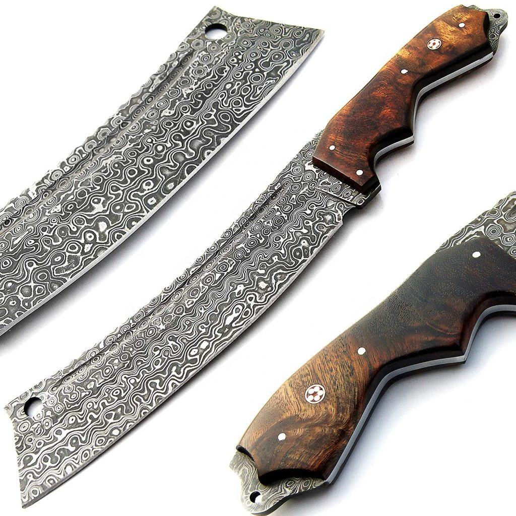 "15.00"" Amazing Hand made Damascus Steel Custom Design Tanto Hunting And Skinning Knife with Rose Wood Handle"
