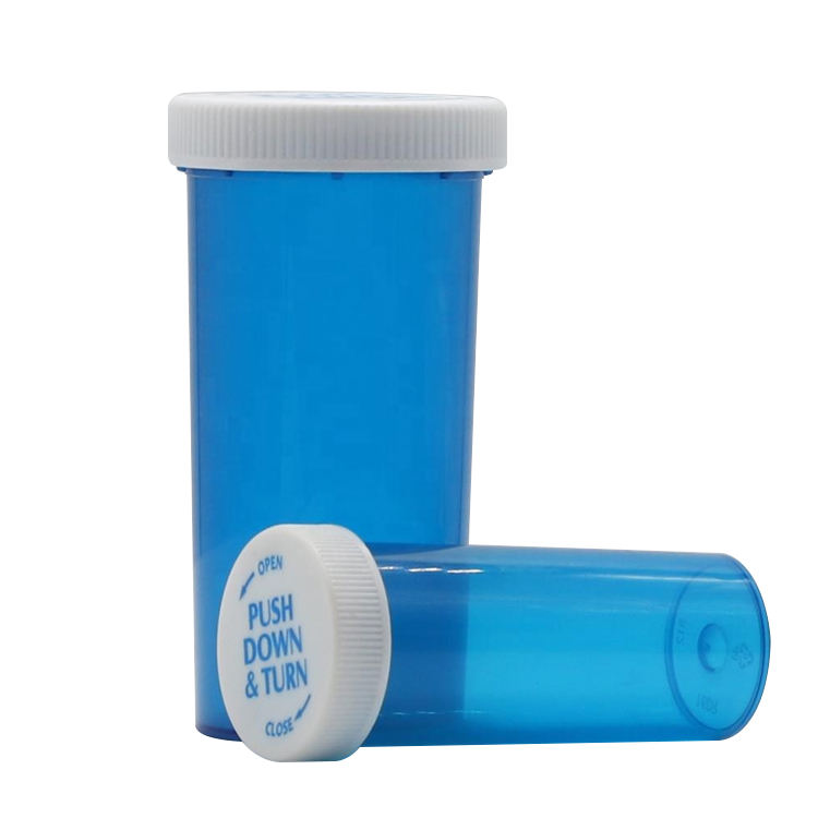 40DR child resistant plastic medical packaging blue medicine capsule bottle pill vials pharmaceuticals container with print cap