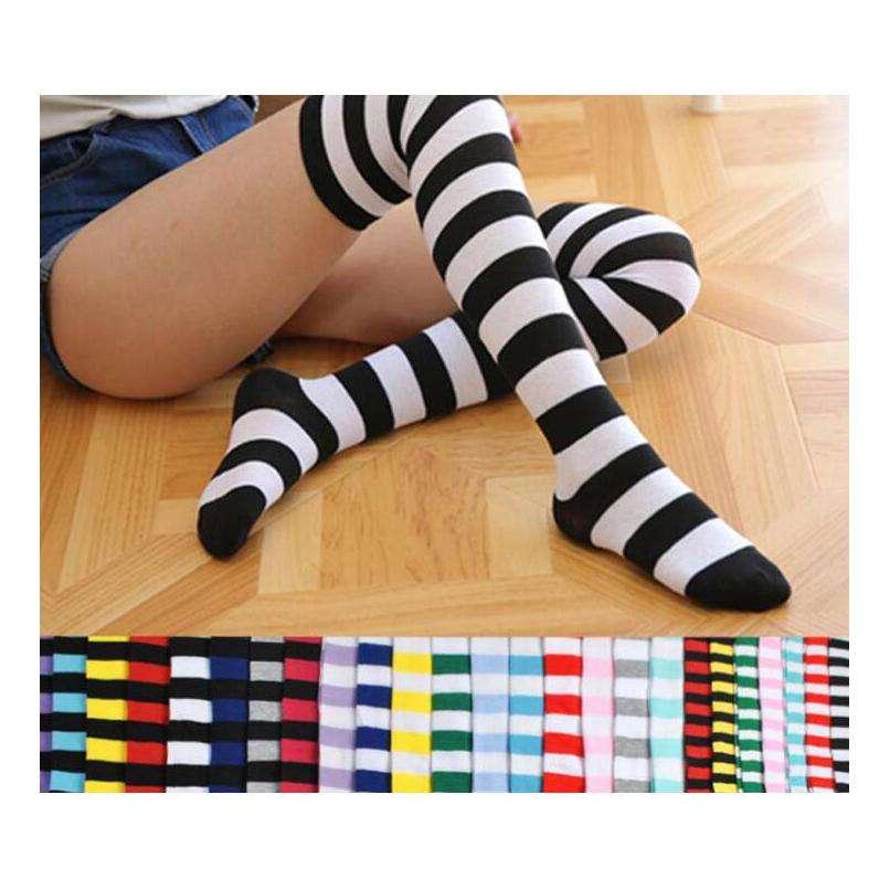 Women Crew Socks Thigh High Knee Artistic Zebra Long Tube Dress Legging Athletic Compression Stocking