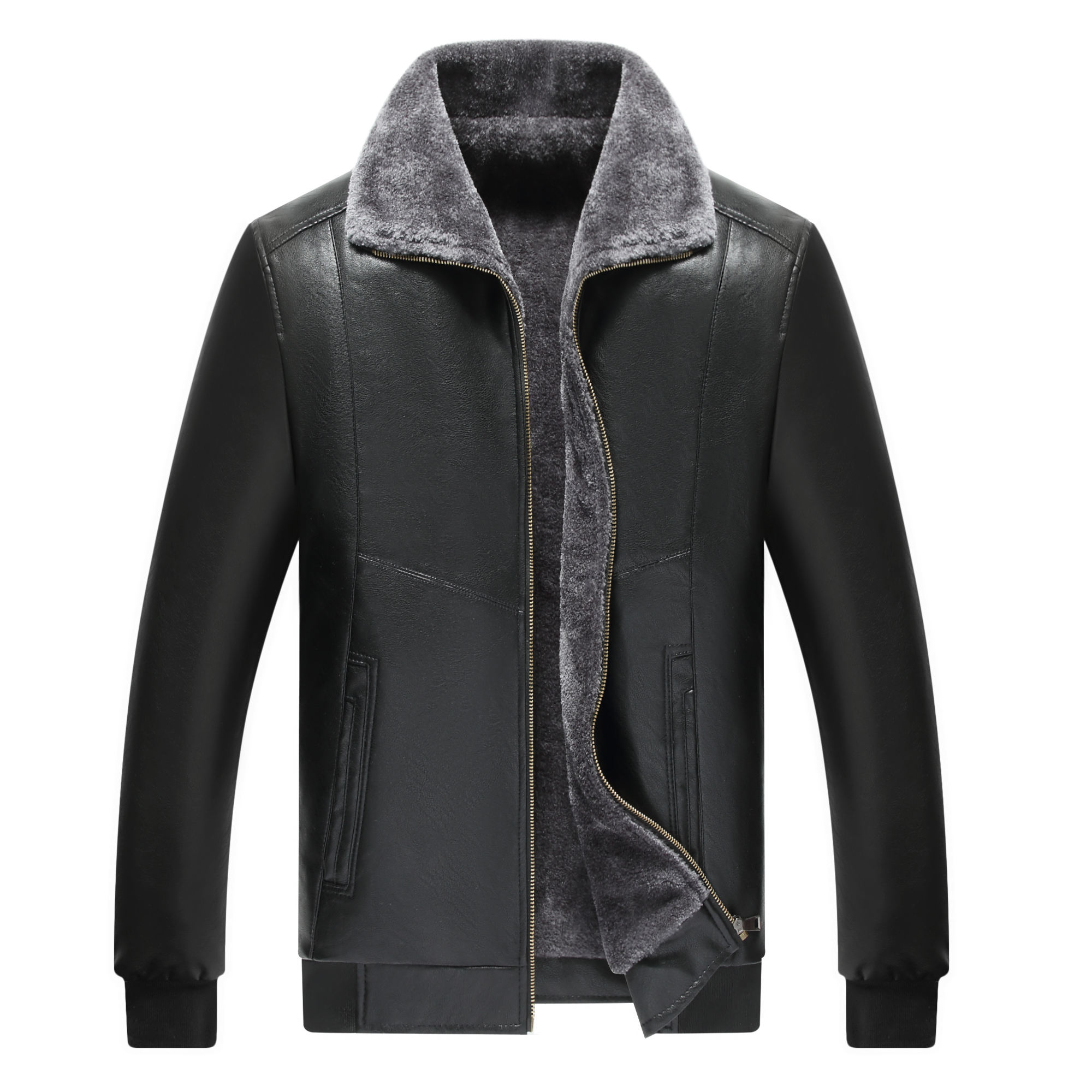 Winter men 's leather jacket fur collar young men' s PU leather jackets