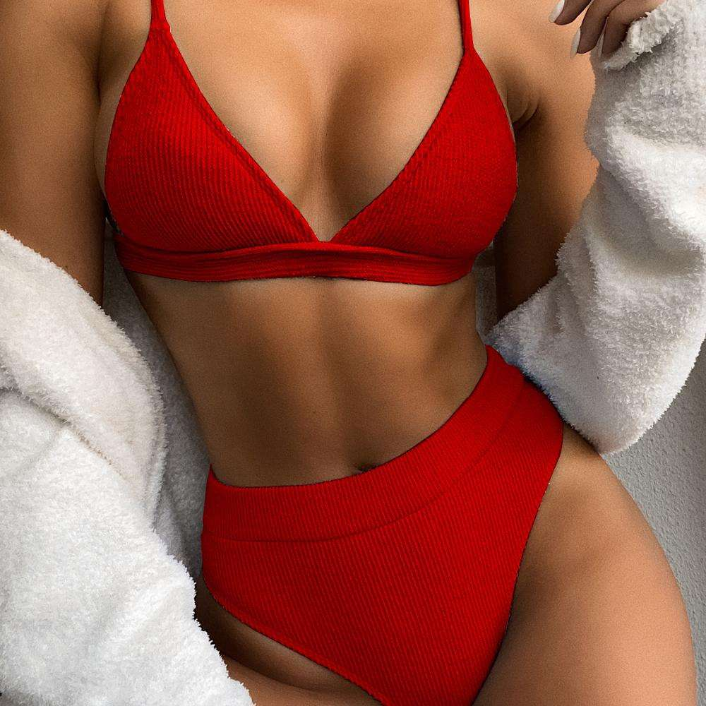 Swimsuit 2020 outer single bikini hot style solid color bikini ladies split swimsuit triangle bikini