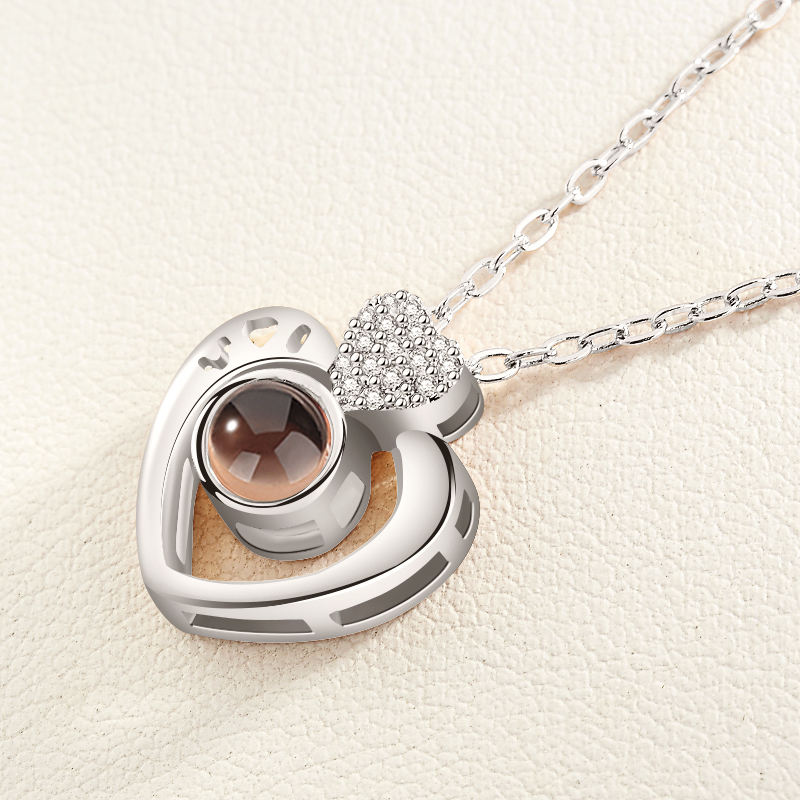 Romantic Jewelry Heart Shape I Love You 100 Languages Projection Necklace for Valentine Day Diamond Necklace