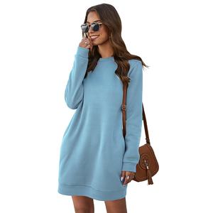 Hot selling casual long - sleeved lady autumn/winter high neck sweater dress