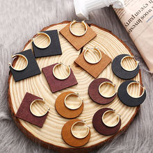 Ethnic Geometric Big Wooden Earrings For Women Vintage Earrings Gold Dangle Drop Earring 2019 Female Fashion Boho Jewelry