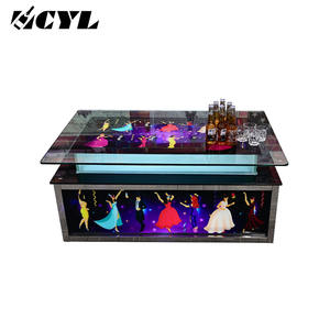 Tables en verre ensemble de meubles de Bar/led allument le tableau de barre