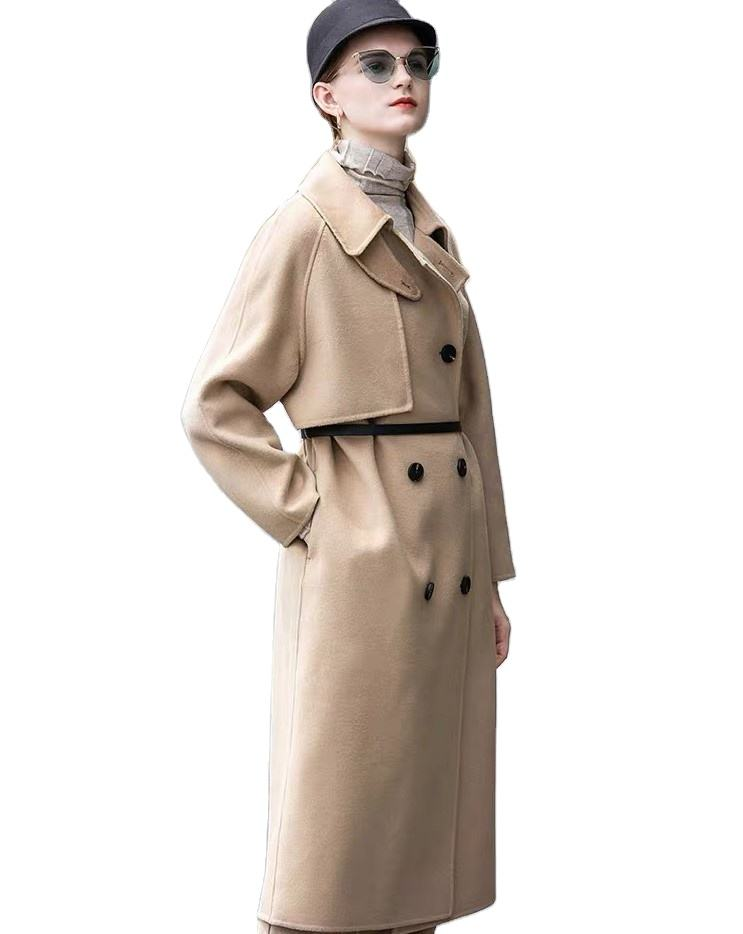Factory Promotion Double Face wool trench coats women Luxury ladies winter Cashmere Leather belt Coat