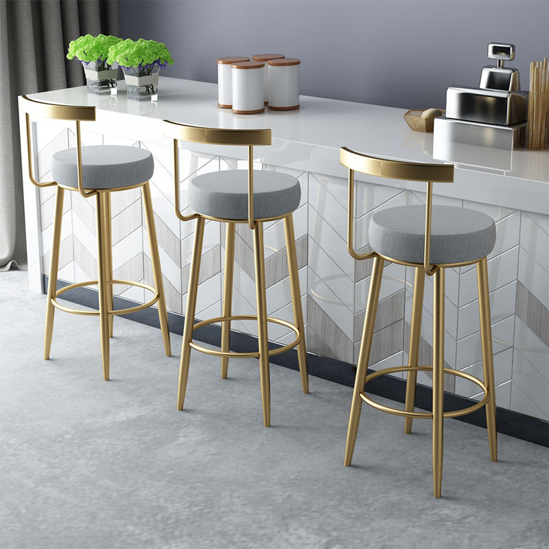 Bar Chair Home Tall Nordic Metal Luxury Gold Velvet Kitchen Leather High Modern Cheap Stools Chair Bar Furniture For Bar Table