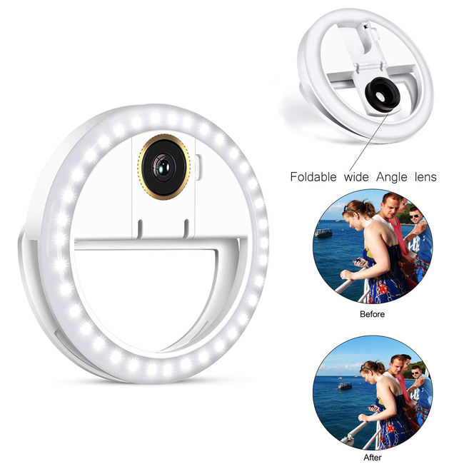 Rechargeable Selfie Ring Light with 36 LED Clip on Ring Lights with Lens for Phone/Tablet/iPad/Laptop