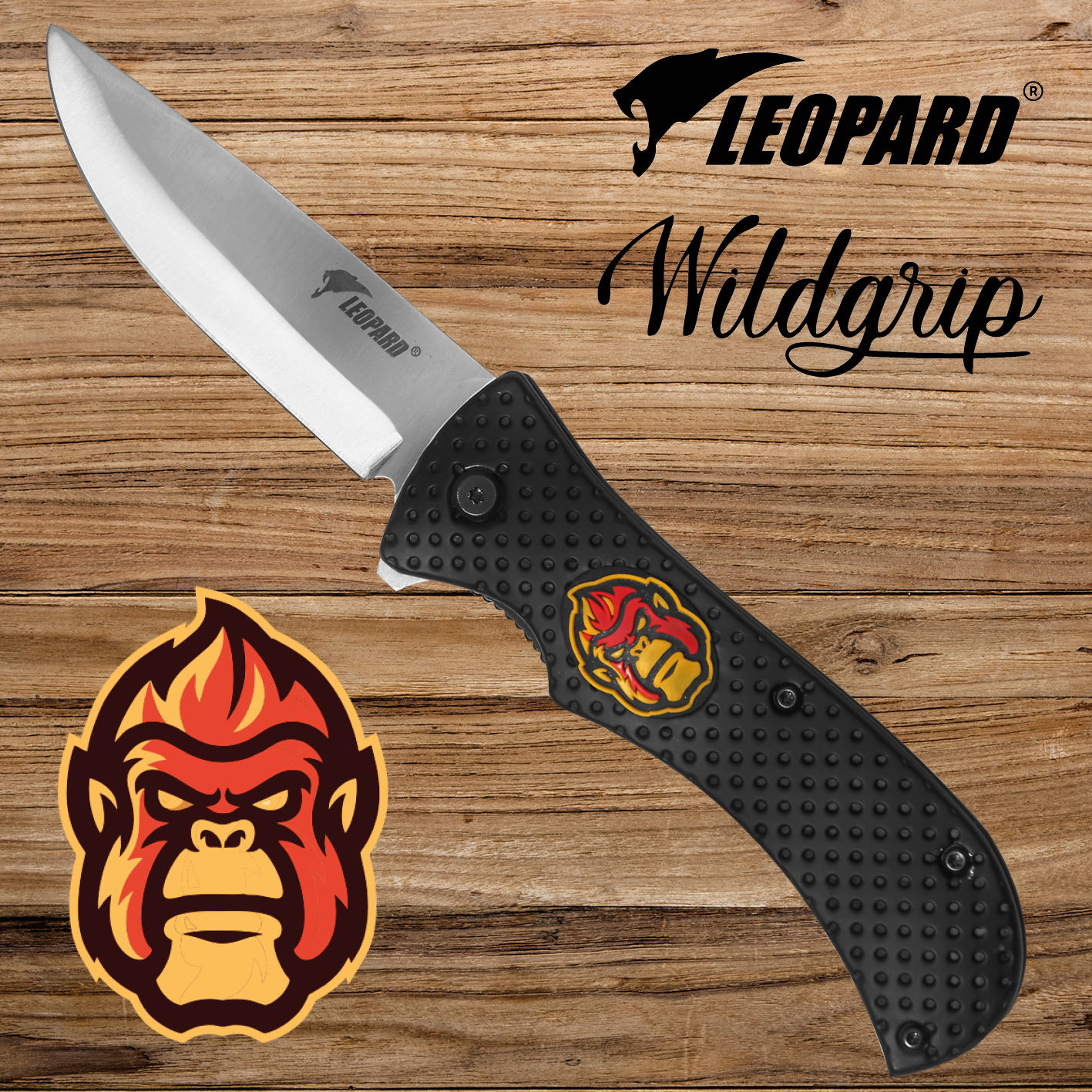 WILDGRIP EDC knives & folding pocket knife with gorilla head - Rescue, survival & outdoor knives use - 48h Fast Europe delivery