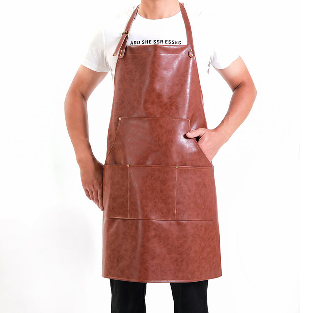 China Factory Cheap Price Custom Logo Print Nordic Style Long Bib Kitchen Pu Leather Bbq Apron