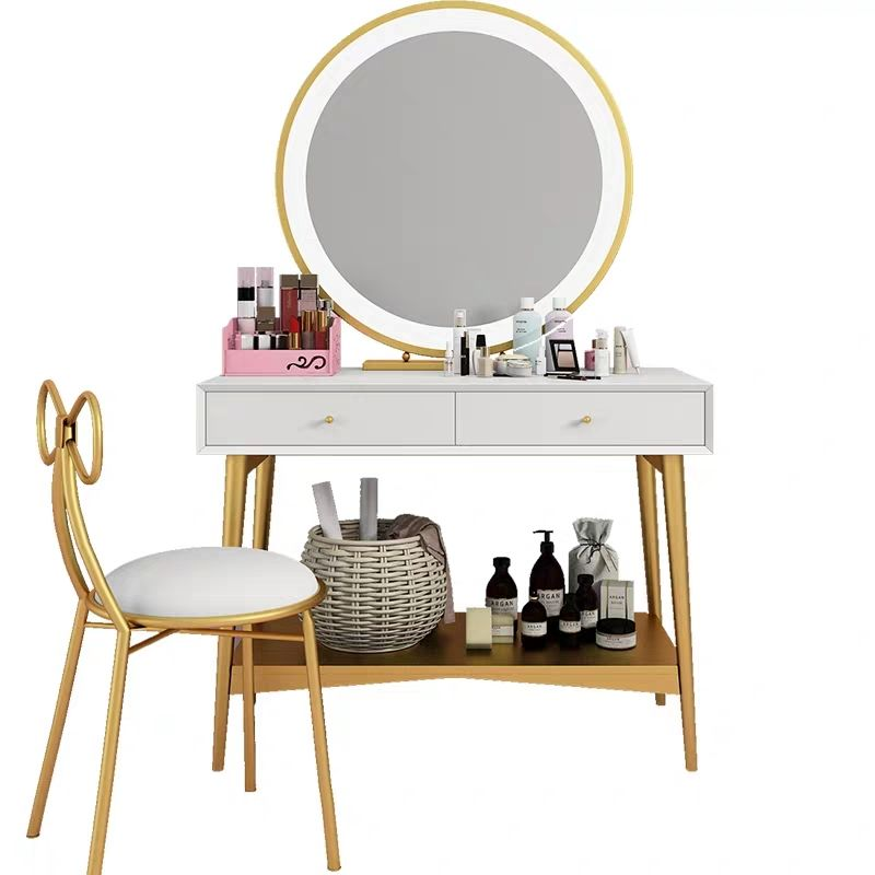 High Quality Nordic Modern Simple Designs Light Luxury Dressing Table Gold Frame Dressing Table With Mirror And Stool