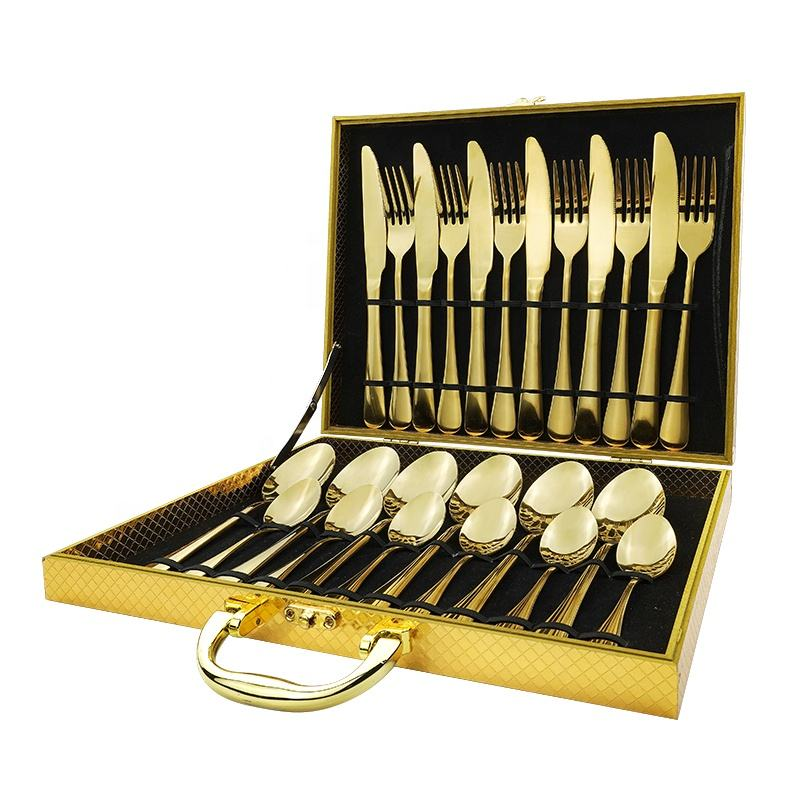 Wholesale 24pcs Kitchen Forks And Spoon Manufacturer Stainless Steel Brass Black Gold Silverware Flatware Cutlery Set