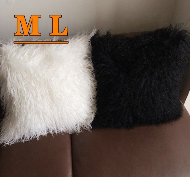 Mongolian lamb fur cushions long soft curly hairs Tibetan sheepskin wool pillows free samples