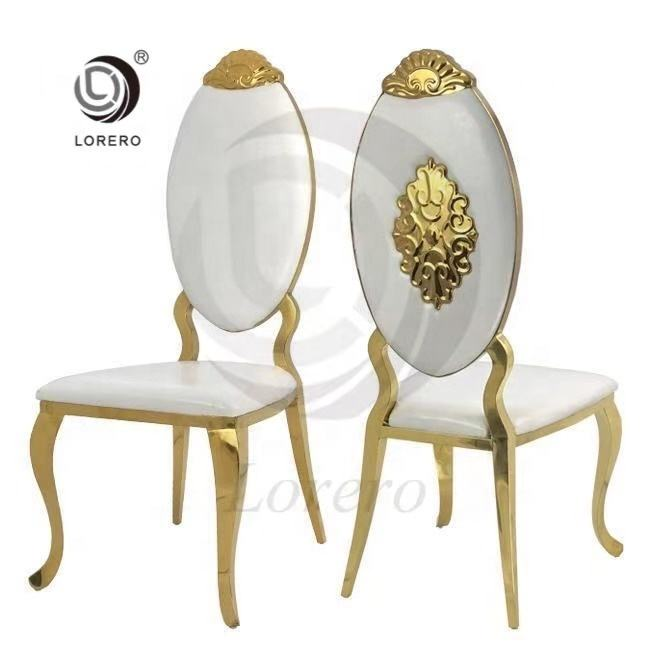 Factory Selling Luxury Chair Customized PU Leather Wedding Stainless Steel Dinning Chair
