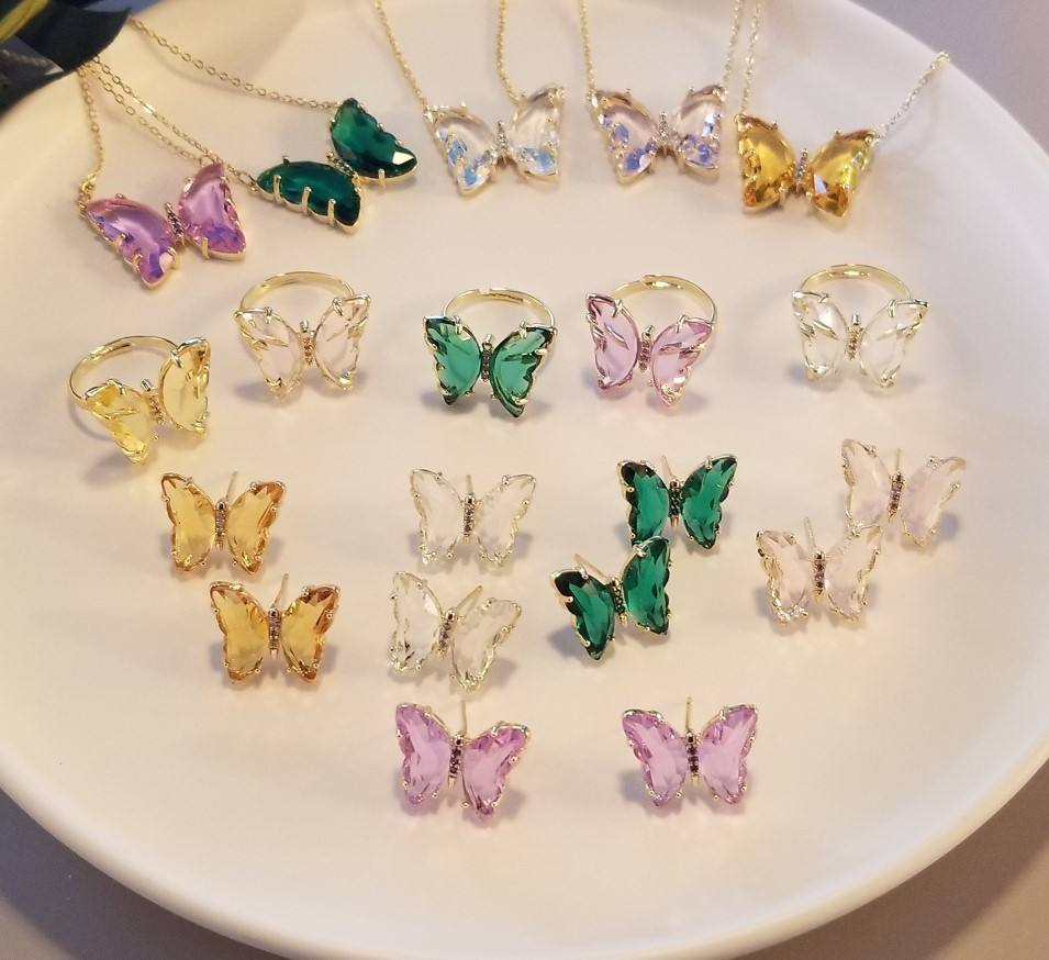 VRIUA Fashion Elegant Shiny Jewelry Colorful Transparent Crystal Glass Butterfly Earrings For Women