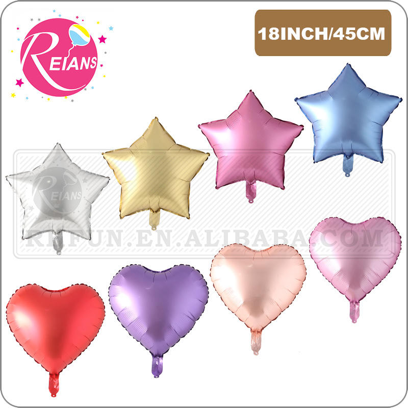 18inch Chrome Metal Balloon Heart Star Round Matt Helium Balloon Wedding Party Decor Supplies Birthday Balloons baby Shower gift