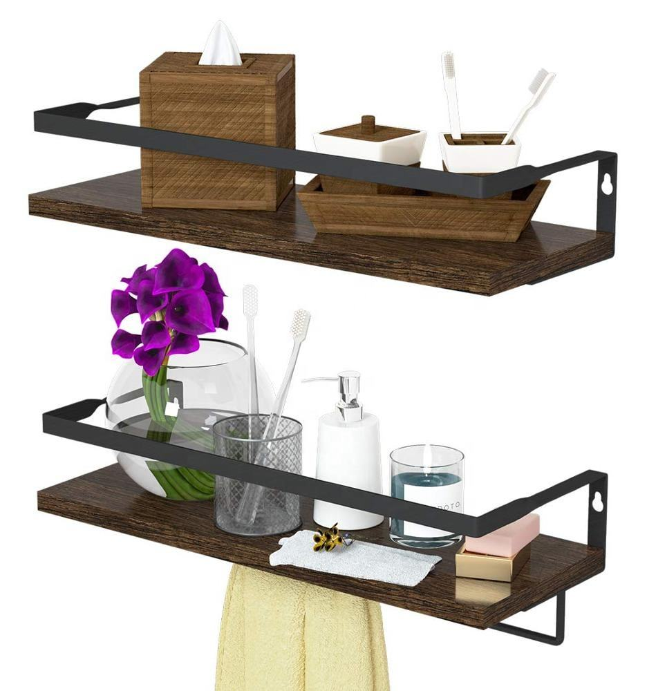 Floating Shelves with Towel Bar Wall Mounted Storage Shelves Organizer for Bedroom Living Room