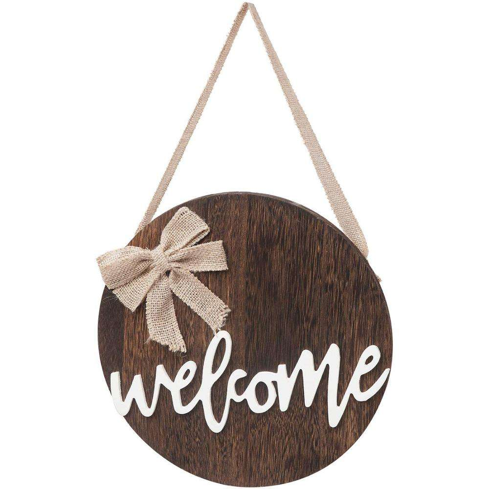 Rustic Farmhouse Porch Decoration Wood Plaque Welcome Sign for Front Door