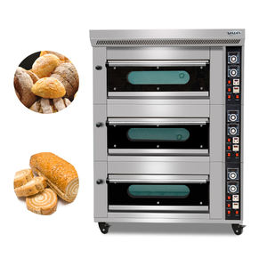 Yoslon commercial 3 Deck 6 Trays Toast Bread Deck Oven Gas Pizza Oven with Steam