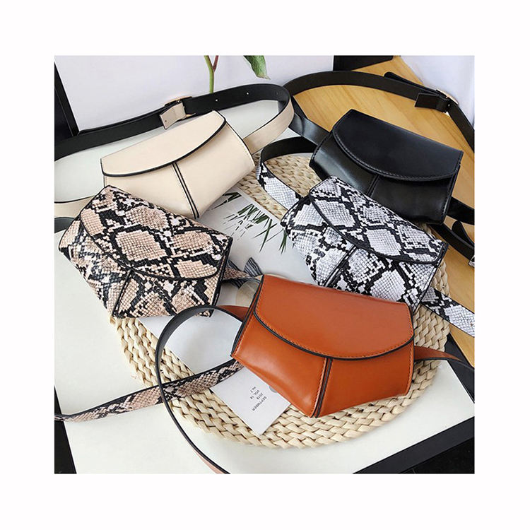 Women Snake Pattern Waist Saddle Bag 2020 Spring New European And American fashion Leather Messenger Bags female shell Purses