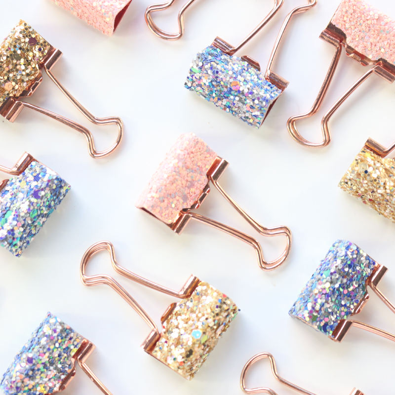 New cute Korean kawaii sequins metal office school binder clips set stationery supplies 8 pcs