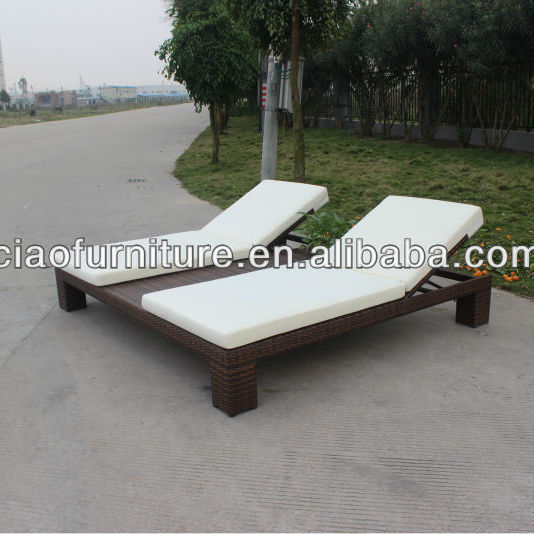 double rattan recliner chaise lounge wicker sunbeds