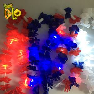 Holiday Decorative Artificial Plastic Led Flashing Garland Hawaiian Flower lei