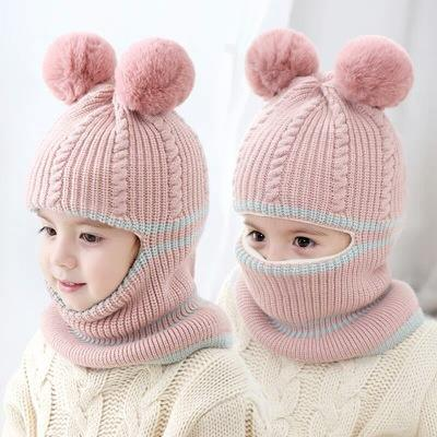 2019 Hot sale Double Fur Pom Beanie Chunky Blank Knitted Fashion Korean Baby Hat warm winter knitted hat