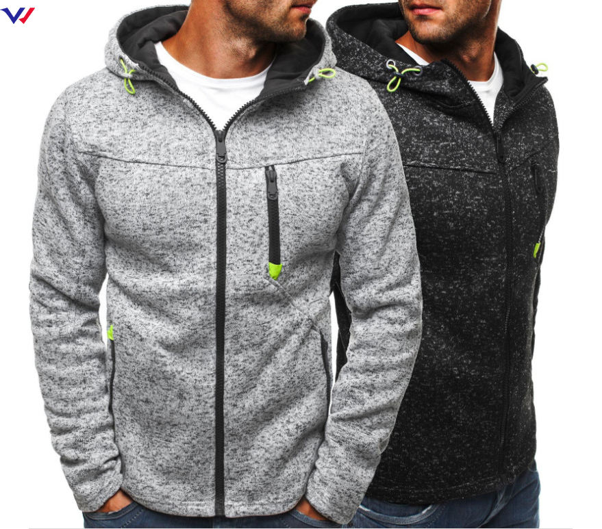 Wholesale Custom Your Own Logo Windproof Running Wear Zip Fleece Athletic Hoodie Gym For Men