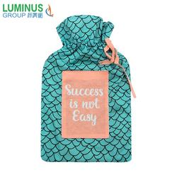 Cheap good quality rubber hot water bottle bag with animal fish scale pattern fleece cover