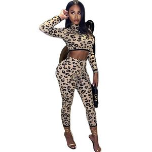 2021 crop top survêtements pantalons manches longues crop top et pantalon ensemble léopard imprimé crop top sweatsuit ensemble