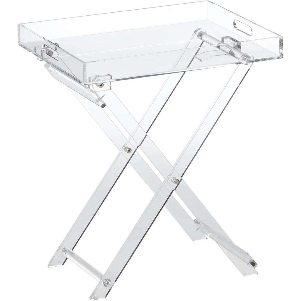 Elegant Clear Design Furniture Modern Chic Accent Desk Kitchen and Bar Serving Tray Table Acrylic Folding Tray Table