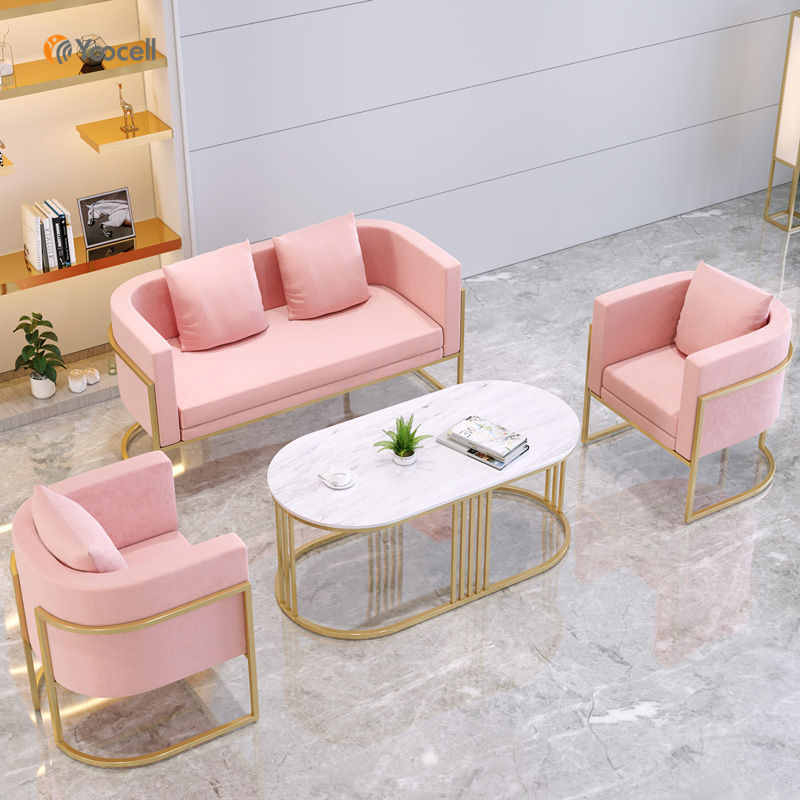 Yoocell Beauty hair salon gold metal frame waiting chair velvet fabric sofa chair for nail reception area