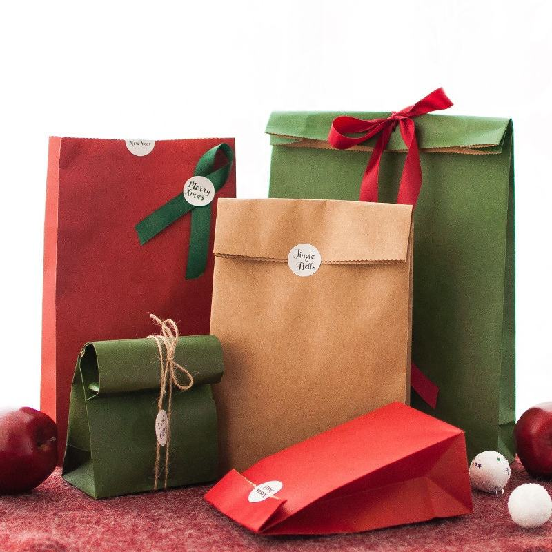christmas decoration sale Friendly Kraft Paper Bag Gift Bag With Handles Recyclable Solid Color Shopping Bag
