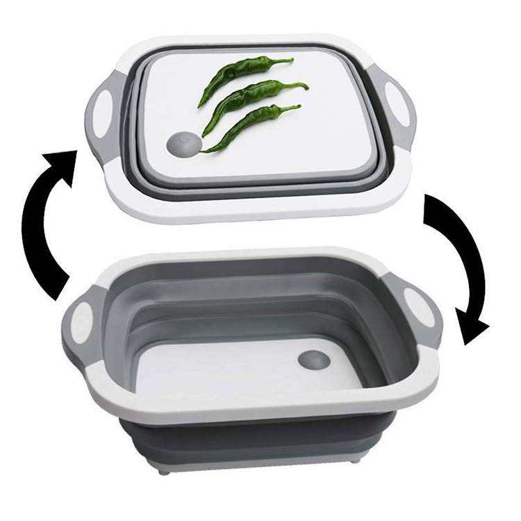 Folding Amazon's new multifunctional plastic portable cutting board with Wash basin