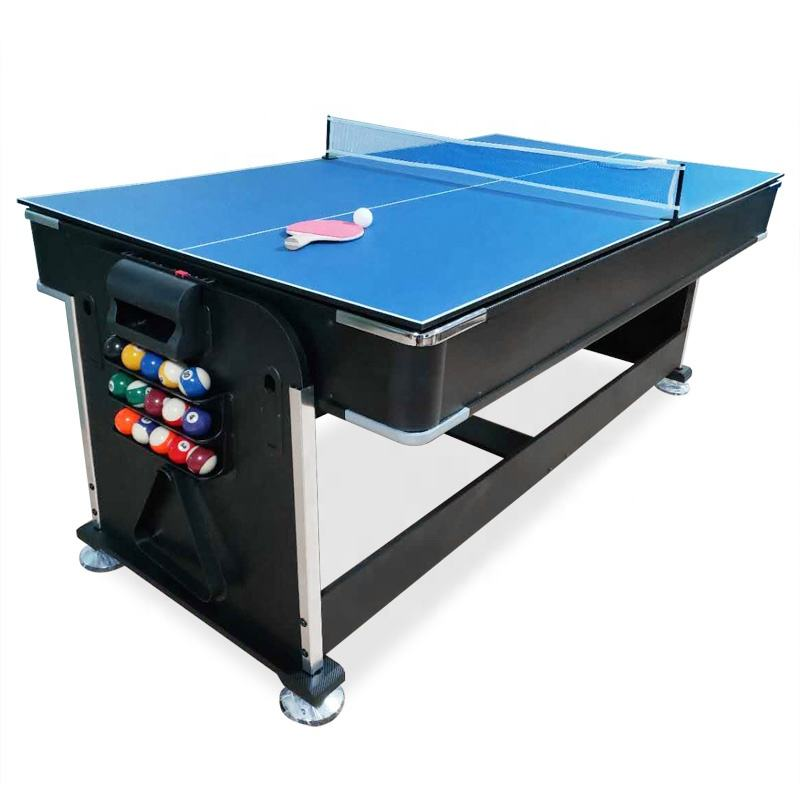 4 in 1 Modern rotating multi game billiard table 7ft with air hockey table tennis and dinning top for factory sales