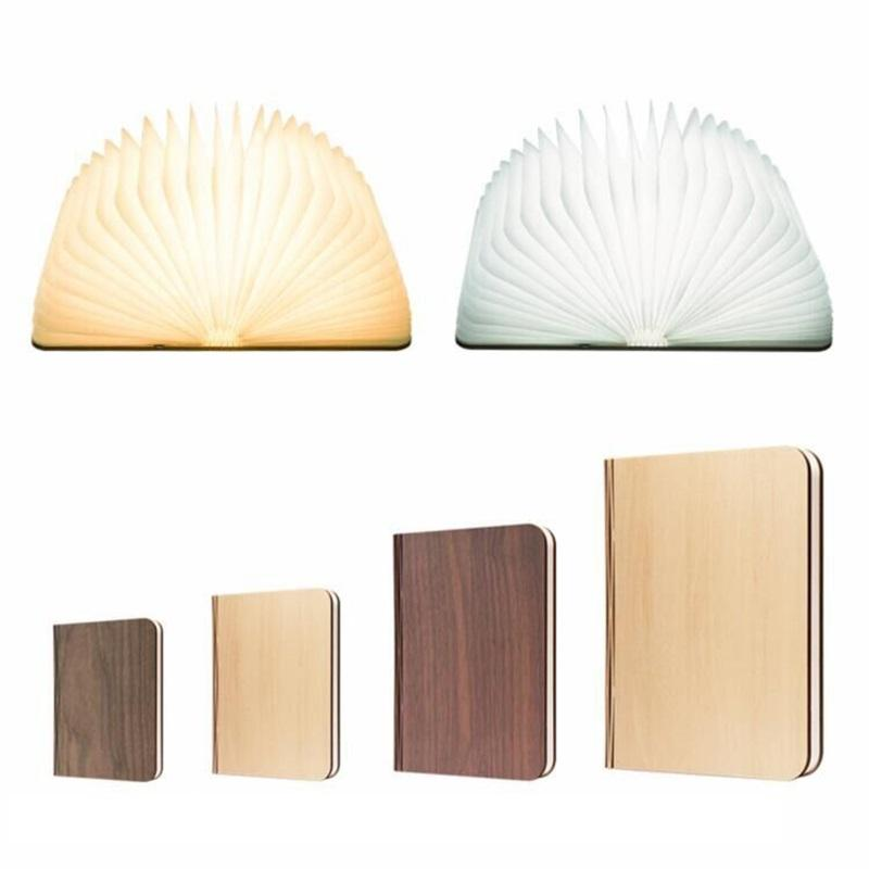 Wholesale Led Mini Wooden Folding Rechargeable Book Light Led Desk Table book shaped lamp