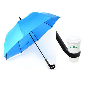 Innovative new fashion design straight umbrella with coffee cup holder