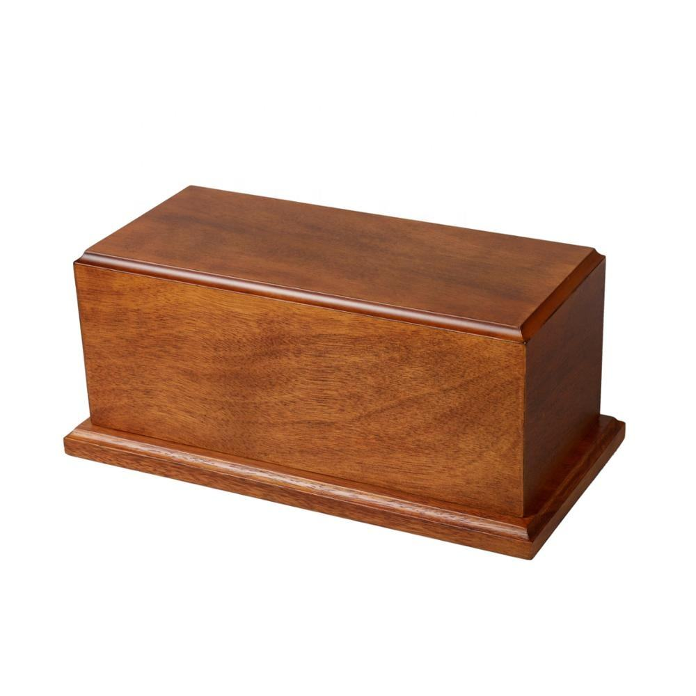 Popular Custom Simple Rubber Wooden Cinerary Casket Wood Urns For Ashes