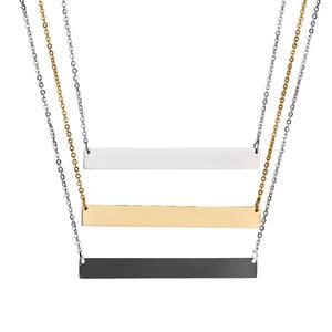 Custom Engraved Blank Stainless Steel Pendant DIY Words Souvenir Engrave Bar Necklace