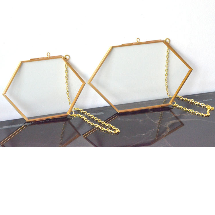 various shapes square rectangle irregular hexagon shape hanging picture glass metal photo frame