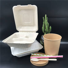 2019 Eco disposable food packaging 8 inch clamshell takeaway sugarcane biodegradable 3 compartment paper lunch box for hotel