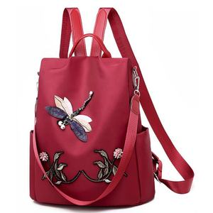 Women new 3D embroidery Dragonfly Chinese style Backpack outdoor large capacity fashionable travel backpack