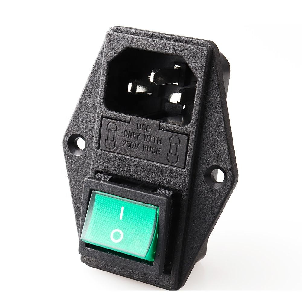 LZ-14-F10 AC Power Cord Inlet Socket Receptacle Electric Connector With Fuse Holder ON OFF Rocker Switch IEC320 C14 CCC CE
