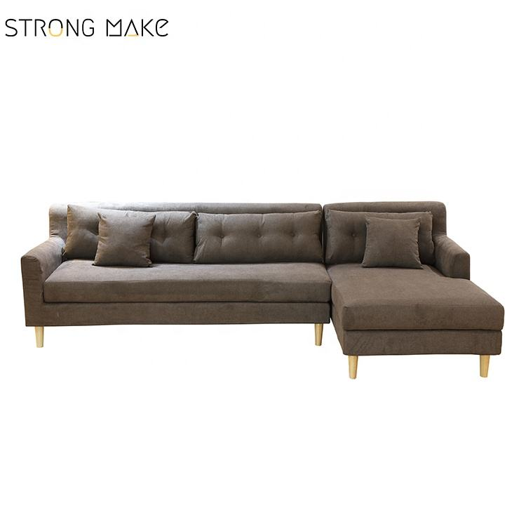 China Low price brown fabric 2 seater sofa with chaise lounge living rooms furniture L shape sectional sofas