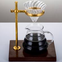 custom heat resistance simple design glass coffee dripper  coffee cone dripper manual drip coffee pour over set